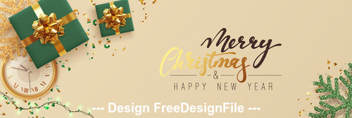 Clock and gift box decorated christmas background vector