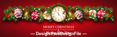 Clock and holly dotted decorated christmas banner vector