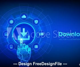Cloud download vector