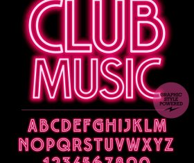 Club music color alphabet vector
