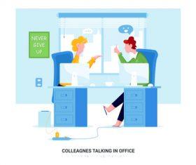 Colleagnes talking in office cartoon illustration vector