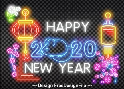 Color 2020 new year neon greeting card backgrounds vector