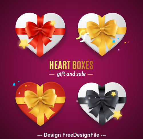 Color bow heart shaped gift box vector