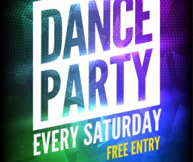 Color font dance party poster vector