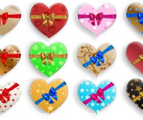 Color heart gift box and bow vector