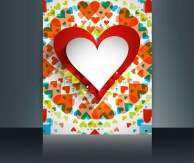 Color heart shaped brochure cover vector
