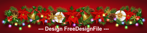 Colorful lights embellished decorated Christmas banners vector