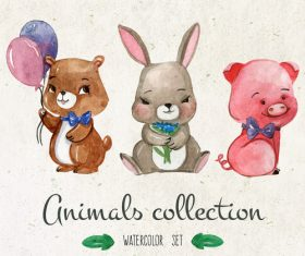 Colorful watercolor animal painting vector