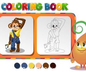 Coloring book about monkey boy vector