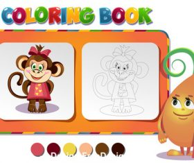 Coloring book about monkey girl vector