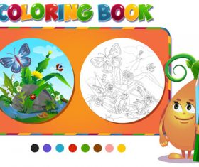Coloring book insects in the forest glade vector