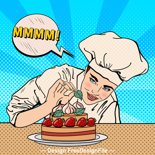 Comic pastry chef vector