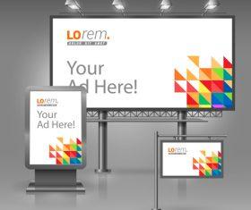 Corporate identity billboard sign light bo vector 01