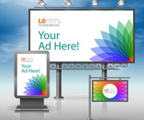 Corporate identity billboard sign light bo vector 03