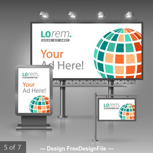 Corporate identity round sphere billboard sign light bo vector