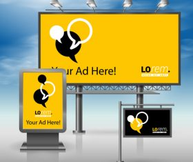 Corporate identity yellow billboard sign light bo vector