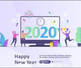 Countdown happy new year cartoon illustration vector