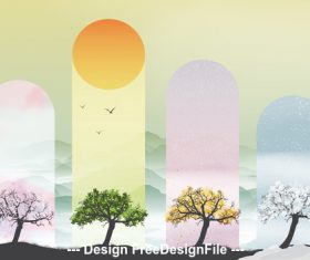 Creative four seasons banners vector