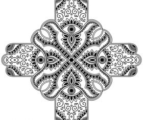 Cross type mandala vanilla flower vector