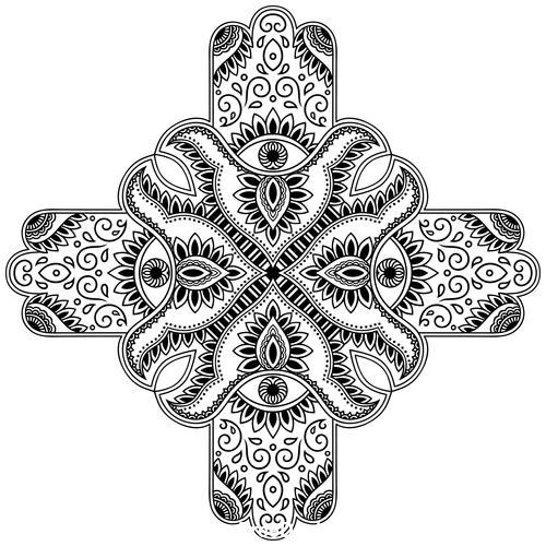Cross type mandala vanilla flower vector