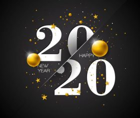 Crossbar 2020 new year and golden ball vector