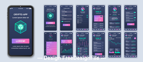 Crypto app App Ui Kit Screen vector