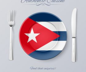 Cuba authentic cuisine and flag circ icon vector