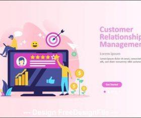 Customer relationship managment cartoon illustration vector