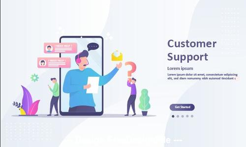 Customer support cartoon illustration vector