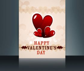 Cute Valentines Day Brochure Heart Shaped Cover vector