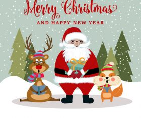 Cute animal and santa claus and gift cartoon element vector