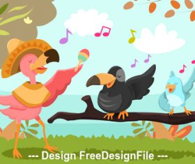 Cute cartoon bird vector
