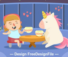 Cute girl with unicorn play vector