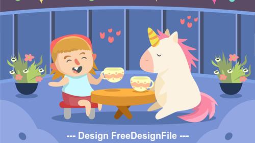 Cute girl with unicorn play vector