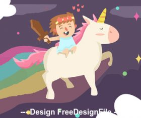 Cute girl with unicorn vector