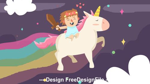 Cute girl with unicorn vector