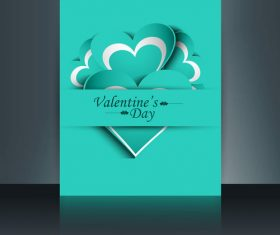 Cyan heart shaped brochure cover vector