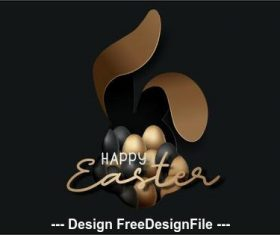 Dark background easter egg illustration vector