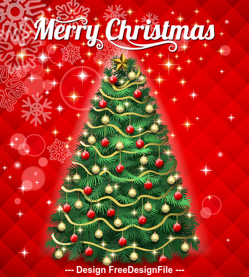 Decorative Beautiful Christmas Tree Vector Free Download