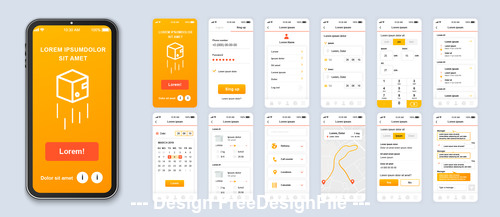 Delivery mobile app Ui Kit Screen vector