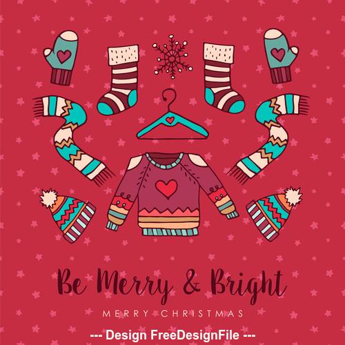 Design cartoon christmas elements background card vector