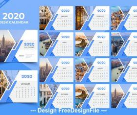 Desk calendar 2020 blue template vector