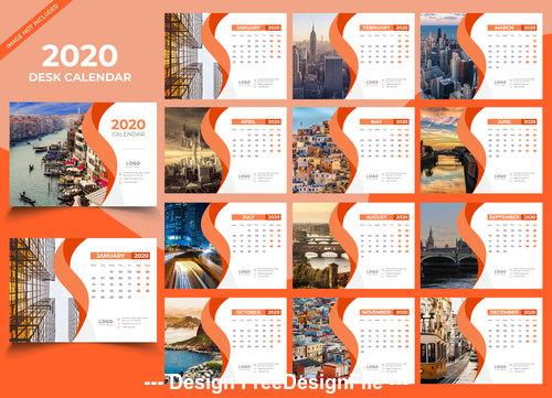 Desk calendar 2020 orange template vector