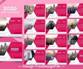 Desk calendar 2020 pink template vector