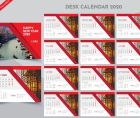 Desk calendar 2020 red with white template vector