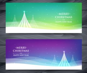 Different colors christmas card banner vector