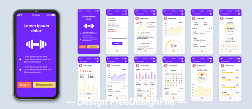 Different functions fitness mobile app Ui Kit Screen vector