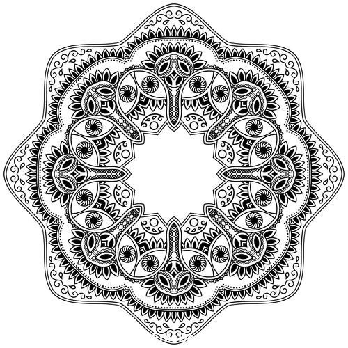 Different patterns mandala tattoo vector 01