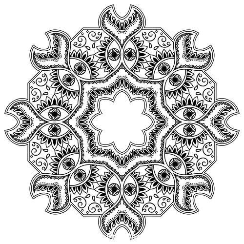 Different patterns mandala tattoo vector 02