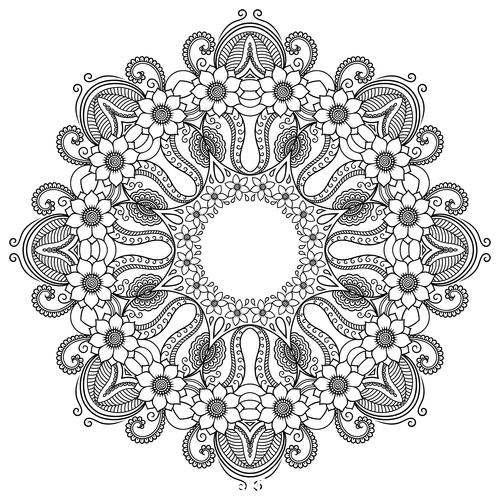 Different patterns mandala tattoo vector 04